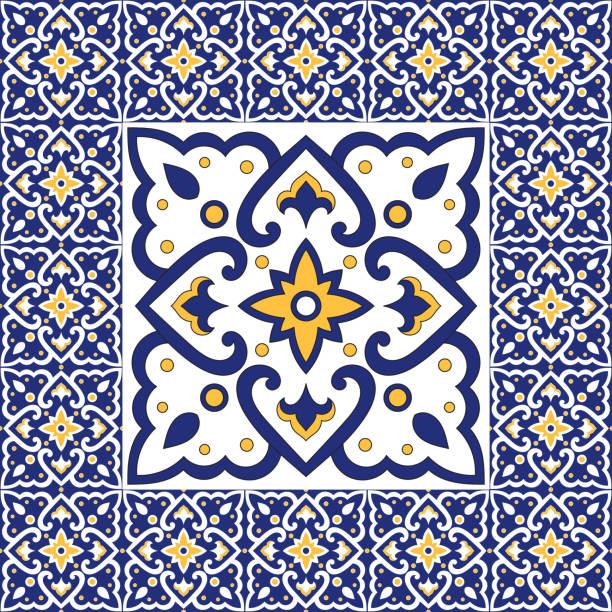 hiszpański wzór płytek ozdoby wektorowe. vintage barcelona mozaika element tekstury w centrum z ramą obramowania. portugalskie tło azulejos, meksykańskie talavera ceramiczne, włoska sycylijska majolica. - kultura portugalska stock illustrations
