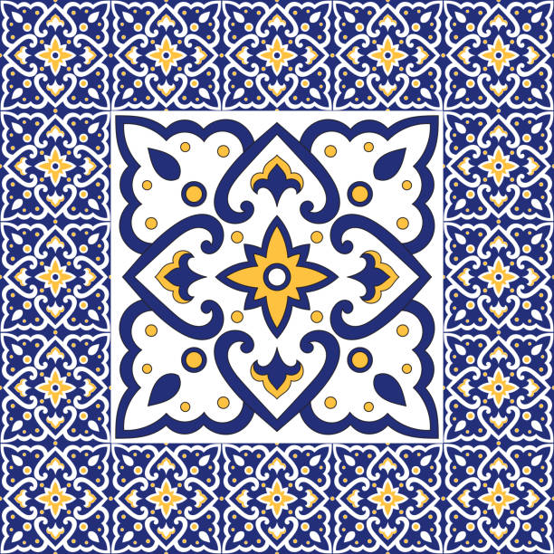 spanish tile pattern vector ornaments. vintage barcelona mosaic texture element in center with border frame. portuguese azulejos background, mexican talavera ceramic, italian sicily majolica. - architecture borders stock illustrations