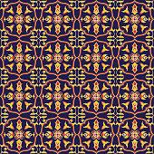 Spanish tile pattern vector seamless with baroque ornament. Portuguese azulejo, mexican talavera, italian majolica