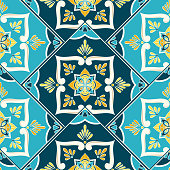 istock Spanish tile pattern vector seamless with border parquet ornament. Portuguese azulejos, mexican talavera ceramic 1302802334