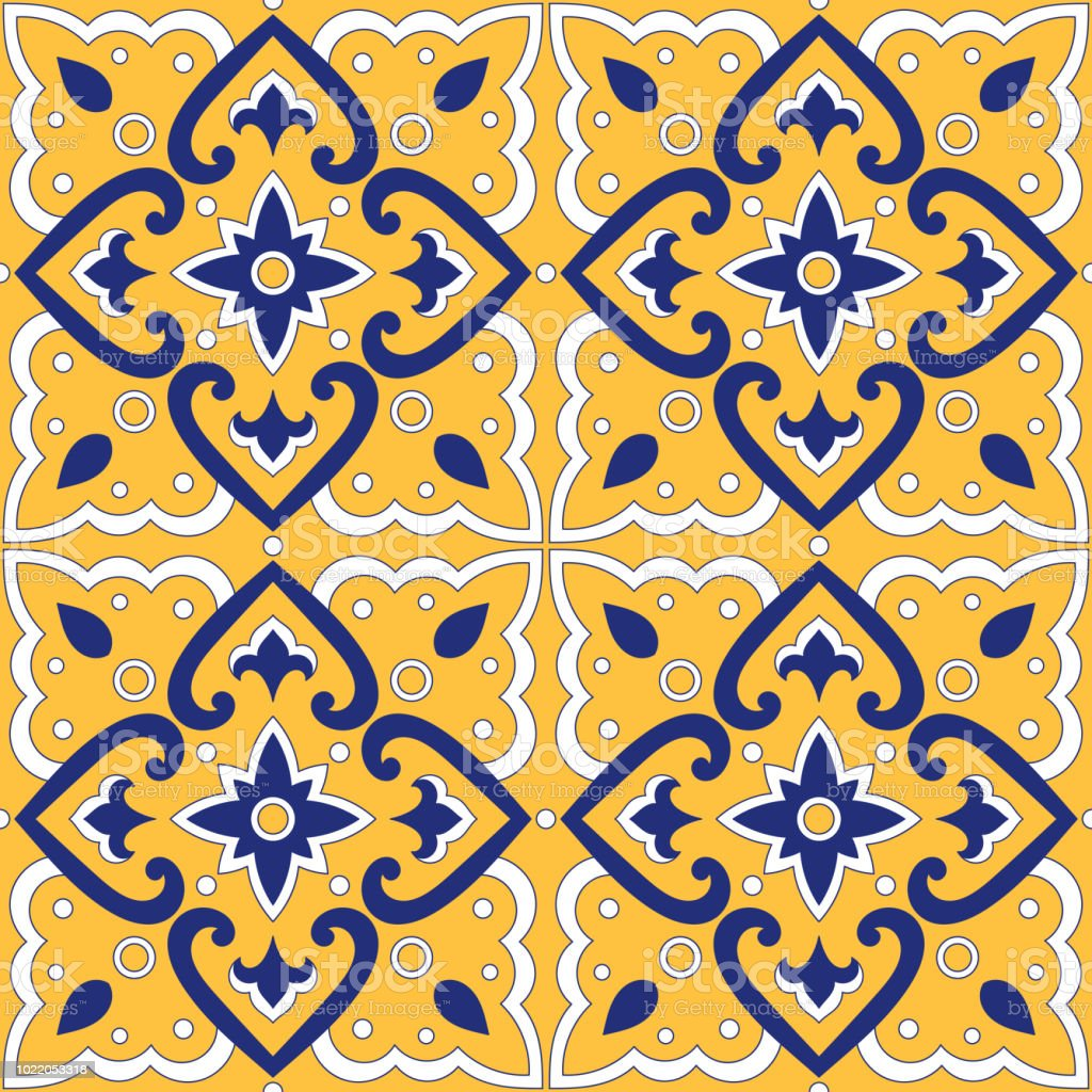 Spanish Tile Pattern Vector Seamless With Retro Ornaments Portuguese ...