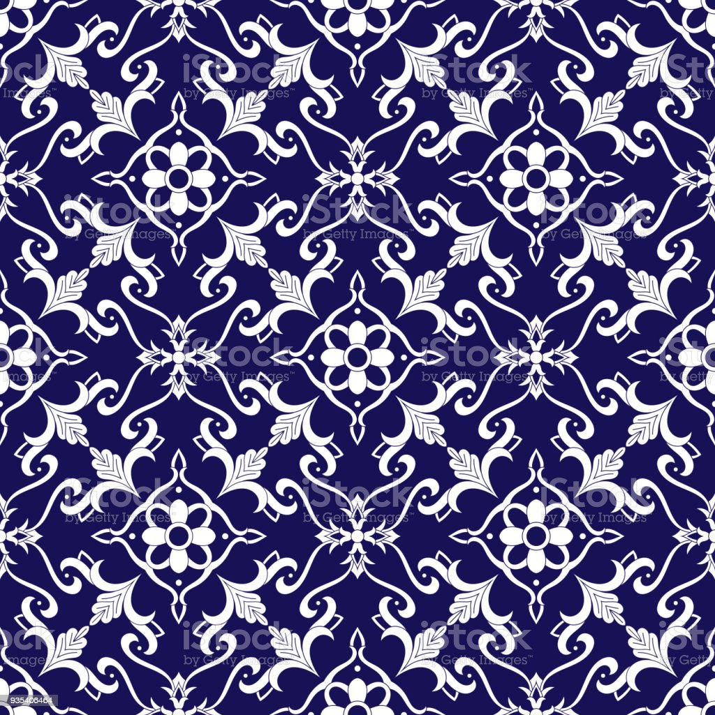 Spanish Tile Pattern Vector With Blue And White Ornaments