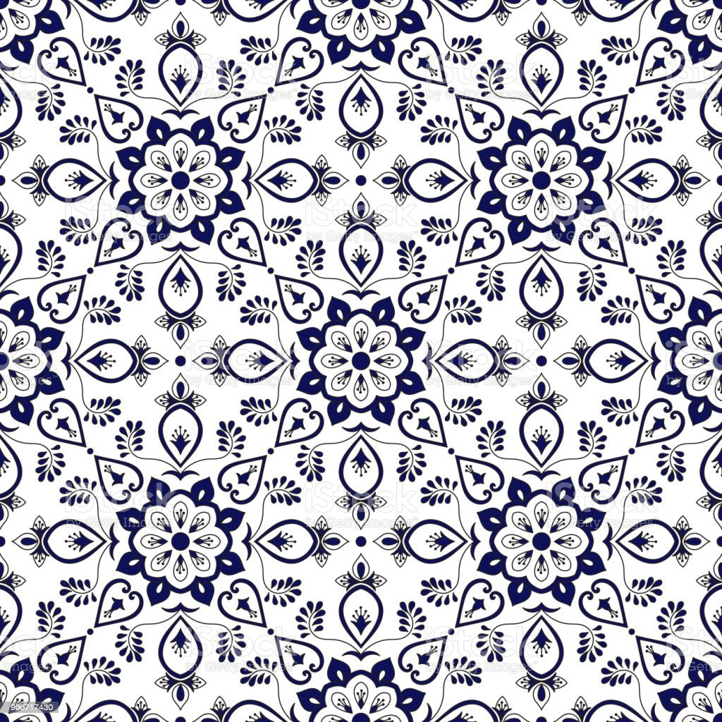 Spanish Tile Pattern Vector With Blue And White Ornaments Portuguese ...