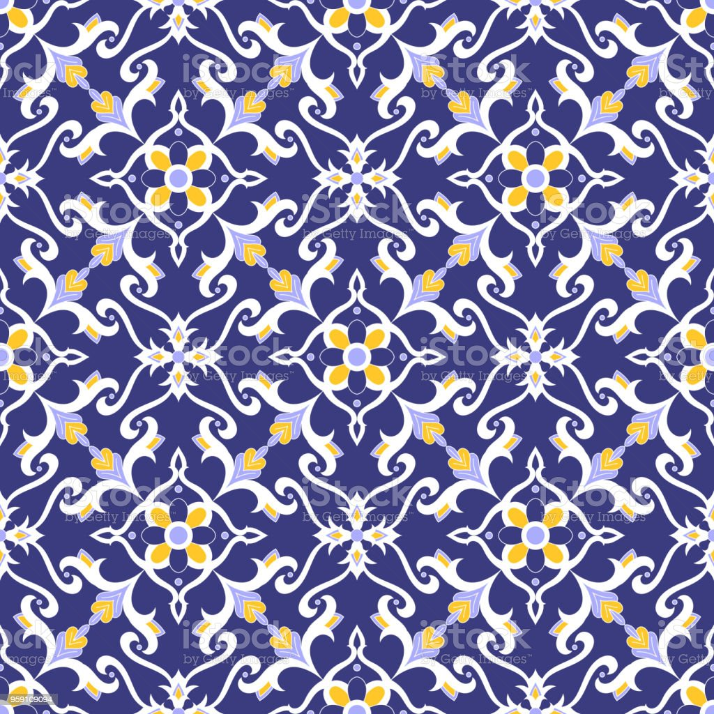 Spanish Tile Pattern Vector With Blue Yellow And White Ornaments