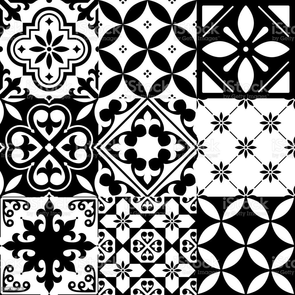 spanish tiles moroccan tiles design seamless black pattern stock vector art more images of. Black Bedroom Furniture Sets. Home Design Ideas