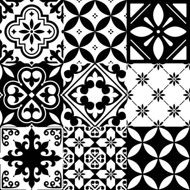 spanish tiles, moroccan tiles design, seamless black pattern - tile pattern stock illustrations, clip art, cartoons, & icons