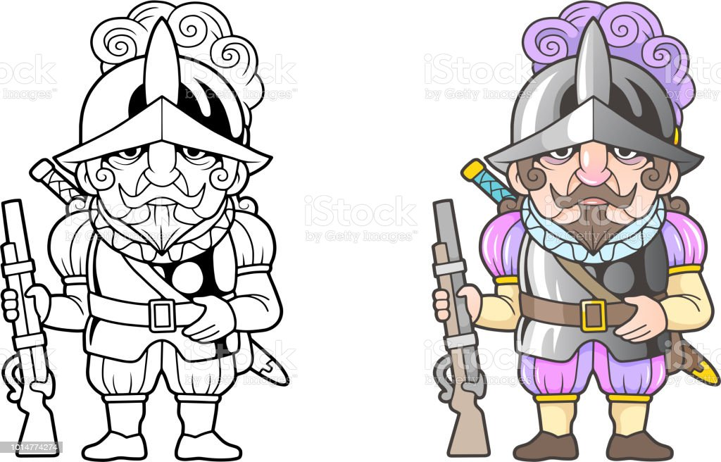 Spanish Warrior Conquistador Funny Illustration Coloring Book Stock ...