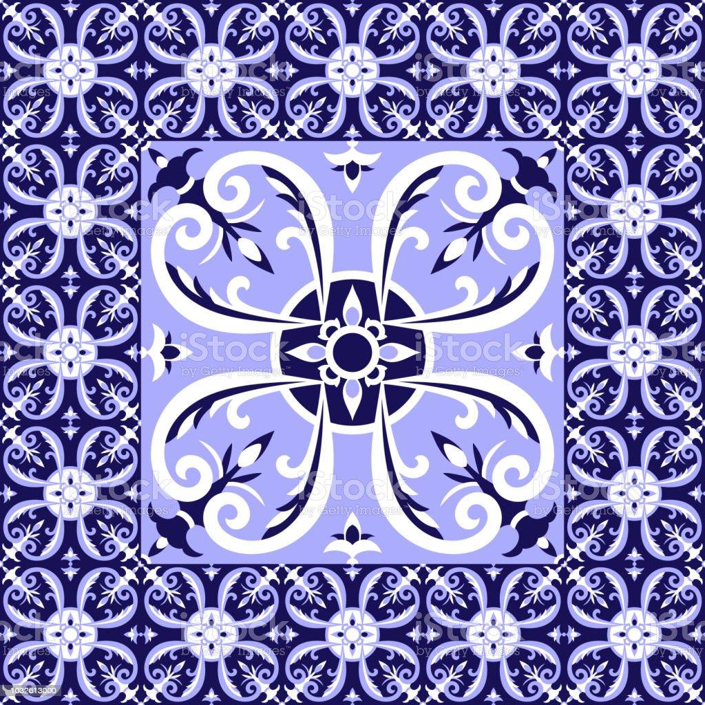 Spanish White Blue Tiles Floor Pattern Vector With Ceramic Tiles Big