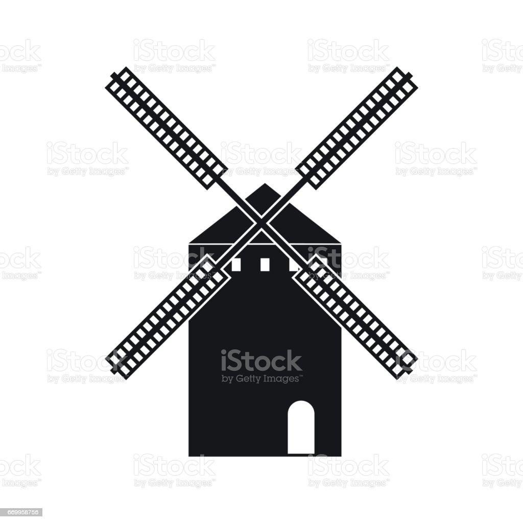 Spanish windmill icon in simple style vector art illustration