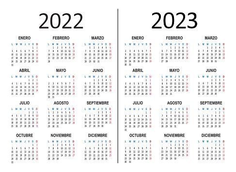 Spanish yearly calendar 2022 2023. Week starts on Monday. Vector