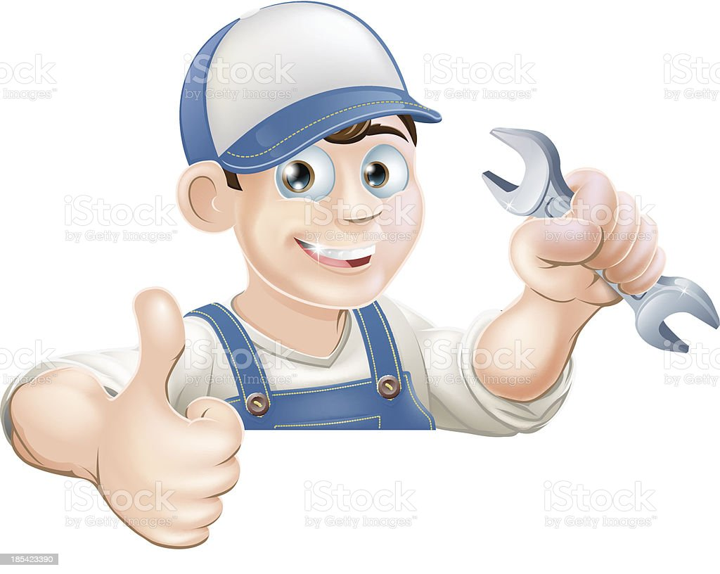 Spanner man over sign thumbs up royalty-free stock vector art