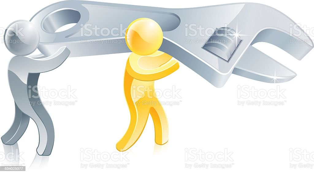 Spanner people vector art illustration
