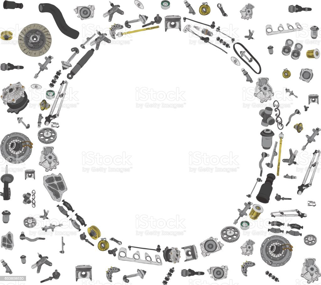 Spare parts car on the white background set vector art illustration