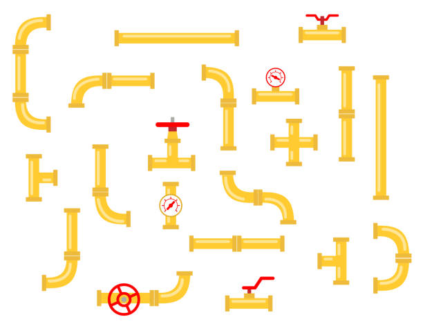 stockillustraties, clipart, cartoons en iconen met reserveonderdelen voor de pijpleiding. pijpaansluitingen van metaal en kunststof - buis laboratoriumapparatuur