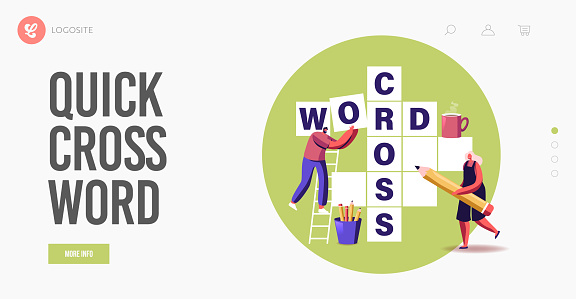 Spare Time, Brain Training, Puzzle Solving Landing Page Template. Tiny Characters Solve Huge Crossword Think on Riddle