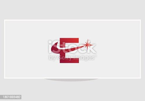 Spark E logo design. E letter logo design with spark concept.