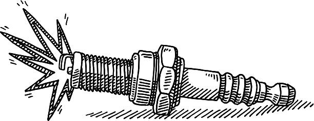 Spark Plug Drawing Hand-drawn vector drawing of a Spark Plug. Black-and-White sketch on a transparent background (.eps-file). Included files are EPS (v10) and Hi-Res JPG. motor sport stock illustrations