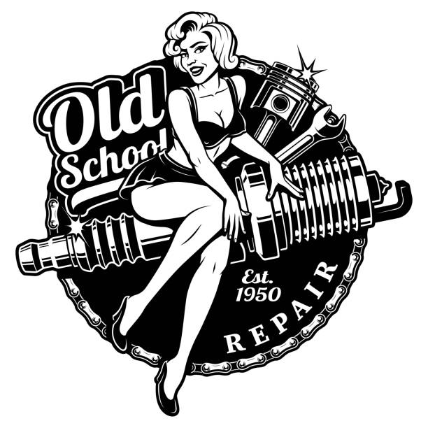 Spark Plug Pin Up Girl (monochrme version) Spark Plug Pin Up Girl illustration with piston and wrench. Vintage style. (monochrome version) All elements, text are on the separate layer. pin up girl stock illustrations