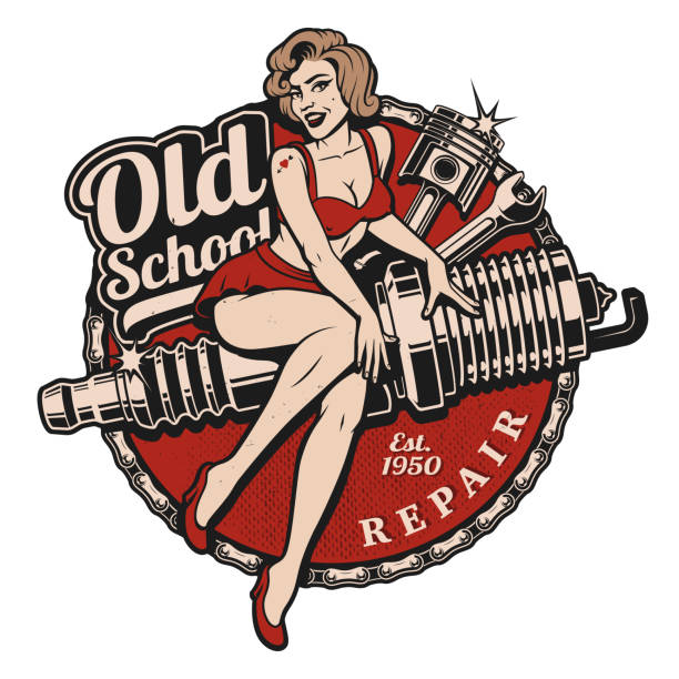 Spark Plug Pin Up Girl (color version) Spark Plug Pin Up Girl illustration with piston and wrench. Vintage style. (Color version) All elements, text are on the separate layer. pin up girl stock illustrations