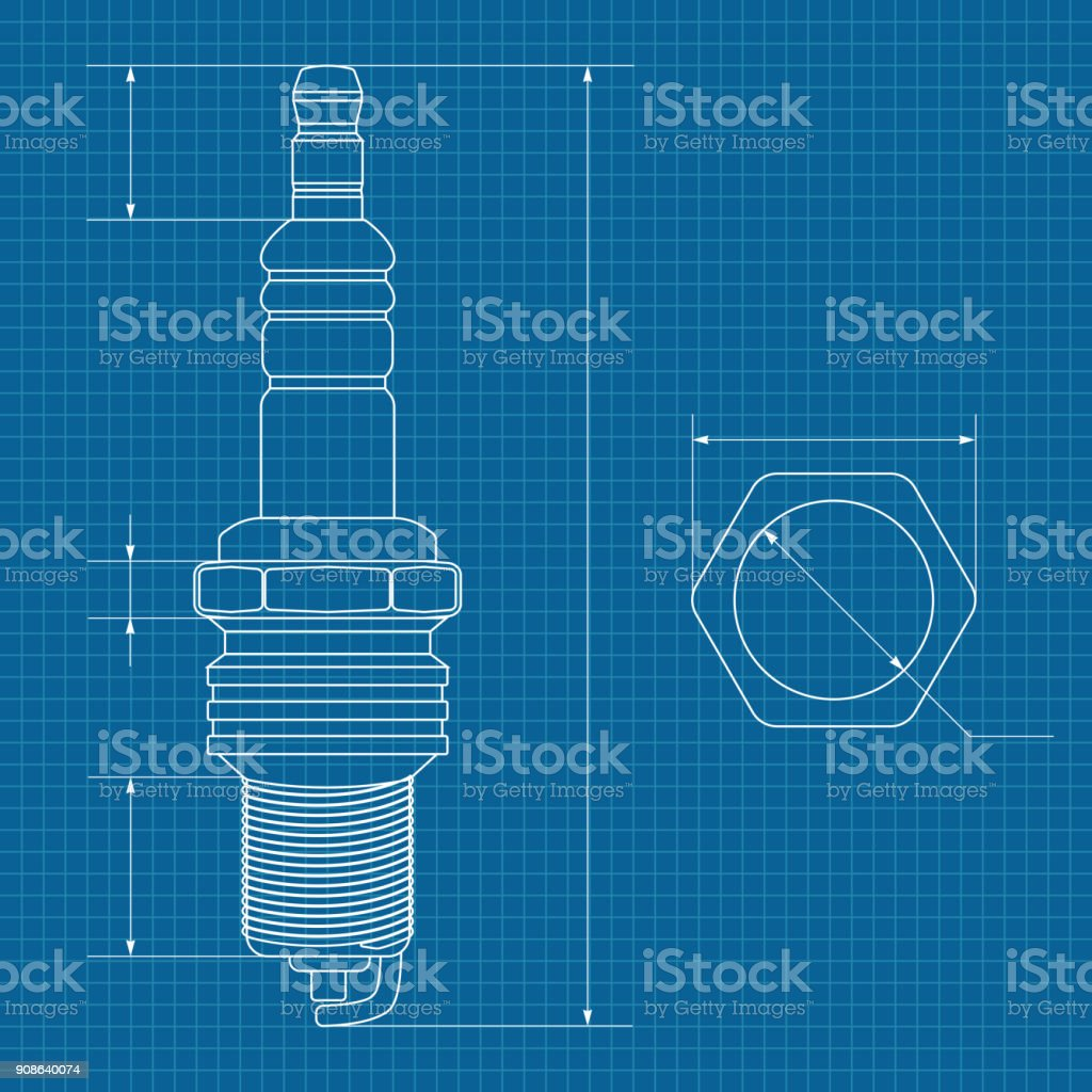 Spark plug technical drawing on blueprint paper stock vector art technical drawing on blueprint paper royalty free spark plug technical drawing on malvernweather Images