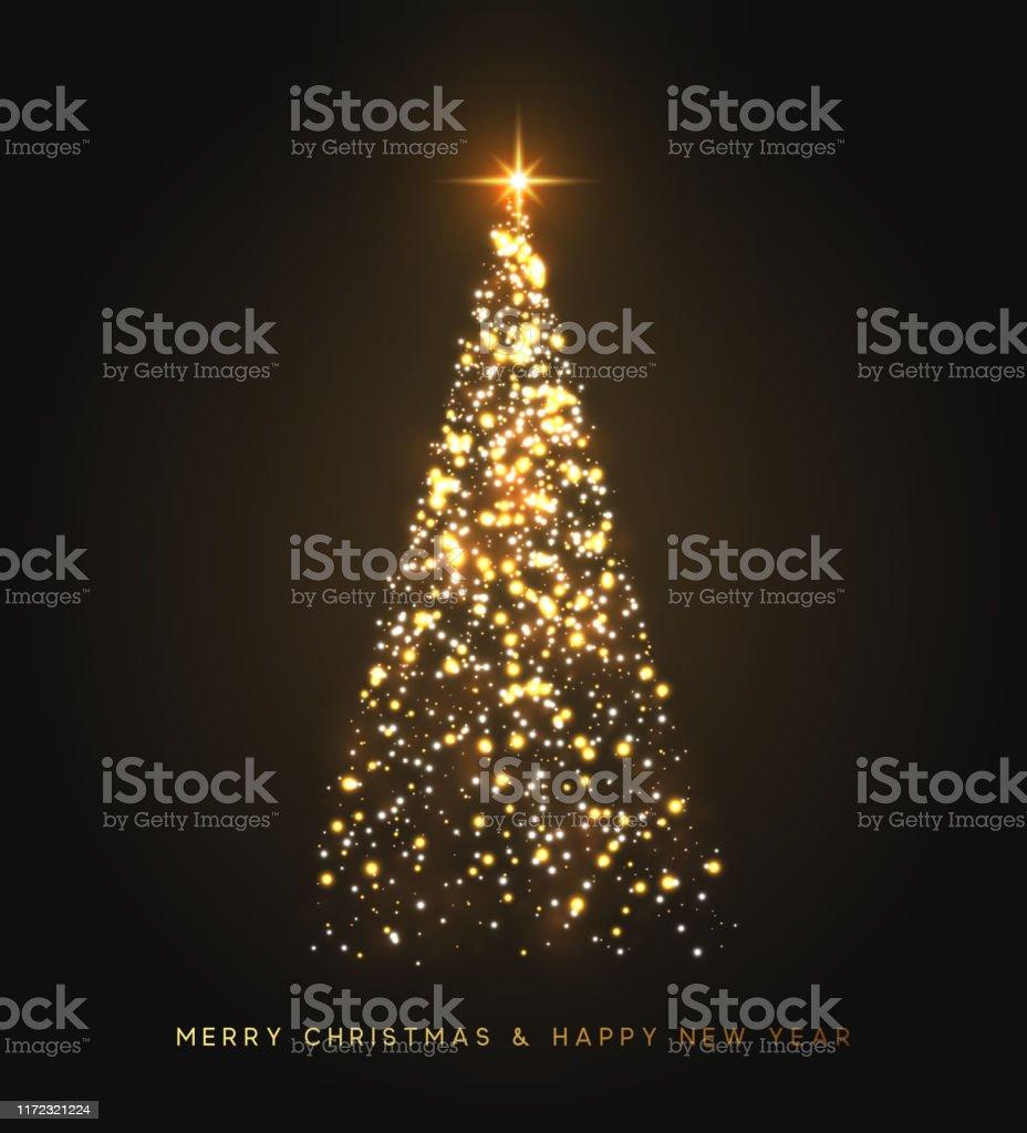 Funkeln magische Xmas Baum Licht. Grußkarte Frohe Weihnachten und frohes neues Jahr. Vektor-Illustration - Lizenzfrei Banneranzeige Vektorgrafik