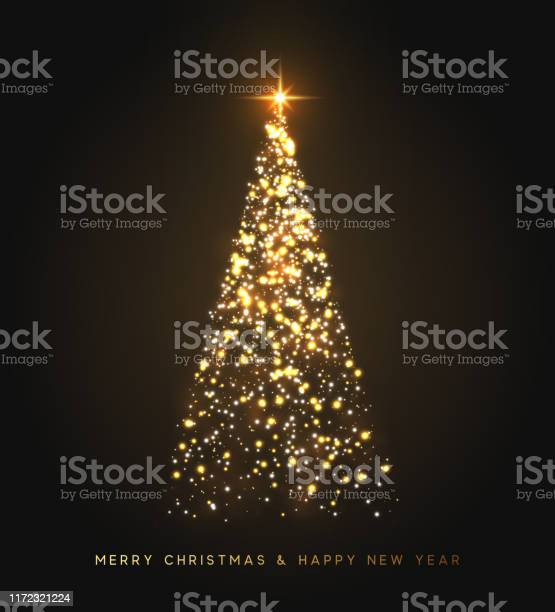 Funkeln Magische Xmas Baum Licht Grußkarte Frohe Weihnachten Und Frohes Neues Jahr Vektorillustration Stock Vektor Art und mehr Bilder von Banneranzeige