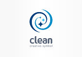Sparkle star, fresh smile creative symbol concept. Wash, swirl, laundry, cleaning company abstract business pictogram. Housekeeping, shine, cleaner icon. Corporate identity sign company graphic design