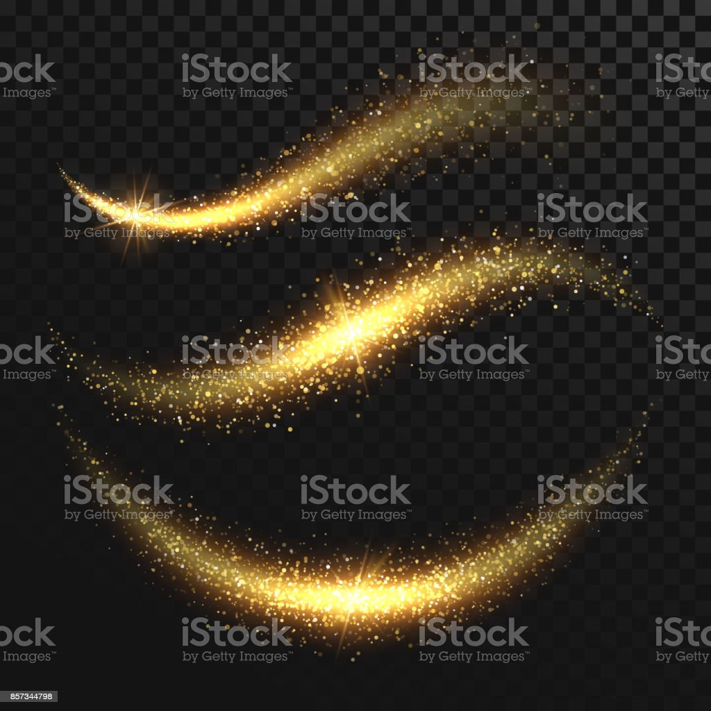 Sparkle stardust. Golden glittering magic vector waves with gold particles isolated on black background
