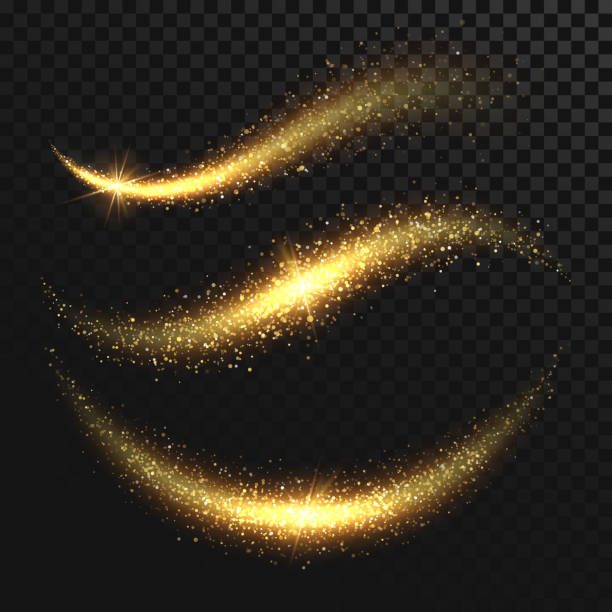 sparkle stardust. golden glittering magic vector waves with gold particles isolated on black background - shiny stock illustrations, clip art, cartoons, & icons