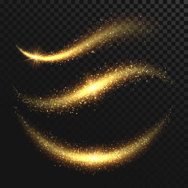 bildbanksillustrationer, clip art samt tecknat material och ikoner med sparkle stardust. gyllene glittrande magiska vektor vågor med guldpartiklar isolerad på svart bakgrund - christmas decoration golden star