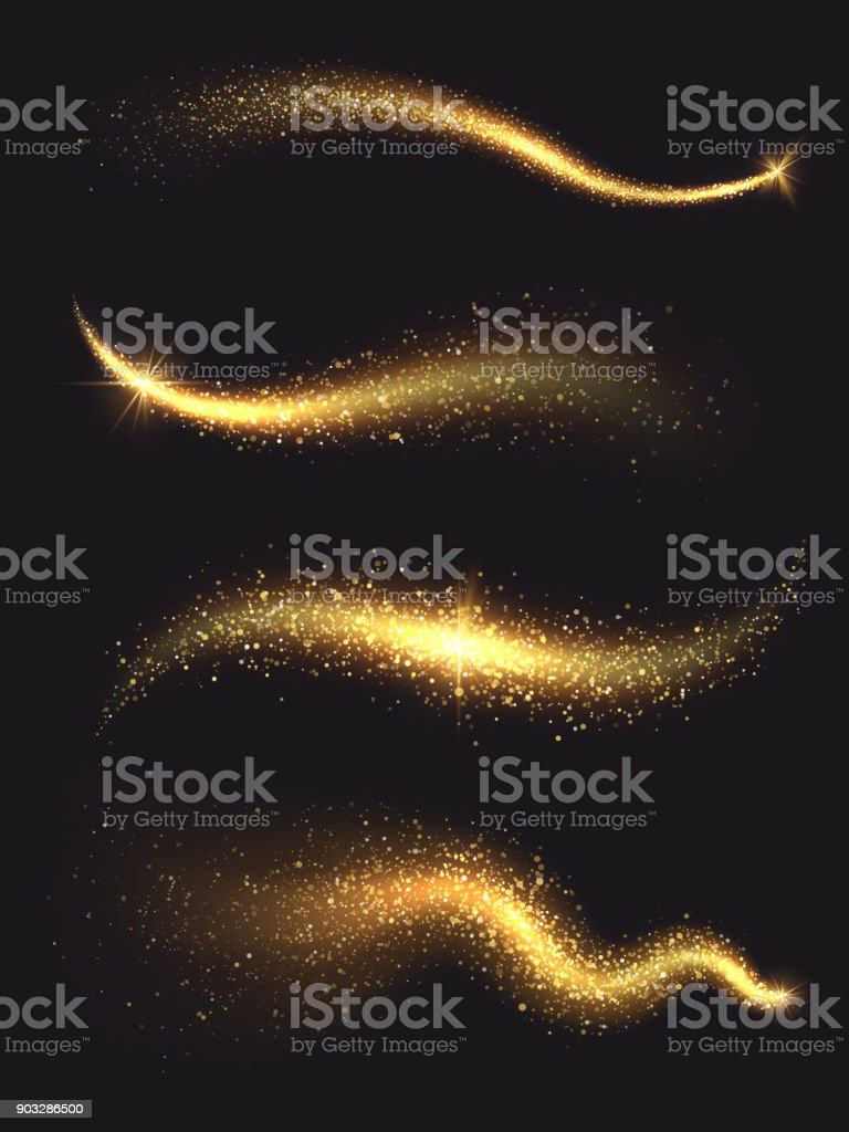 Sparkle stardust. Golden glittering magic vector waves with gold particles collection