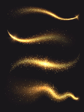 Sparkle Stardust Golden Glittering Magic Vector Waves With Gold Particles Collection Stock Illustration - Download Image Now