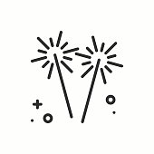 Sparkler, bengal fire icon. Party celebration birthday holidays event carnival festive. Thin line party basic element icon. Vector simple linear design. Illustration. Symbols. Congratulation