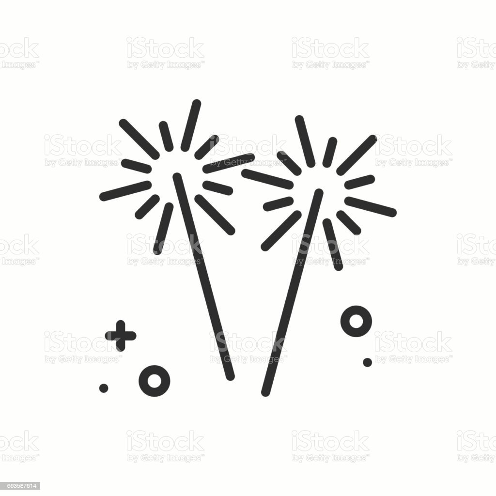 Sparkler, bengal fire icon. Party celebration birthday holidays event carnival festive. Thin line party basic element icon. Vector simple linear design. Illustration. Symbols. Congratulation vector art illustration