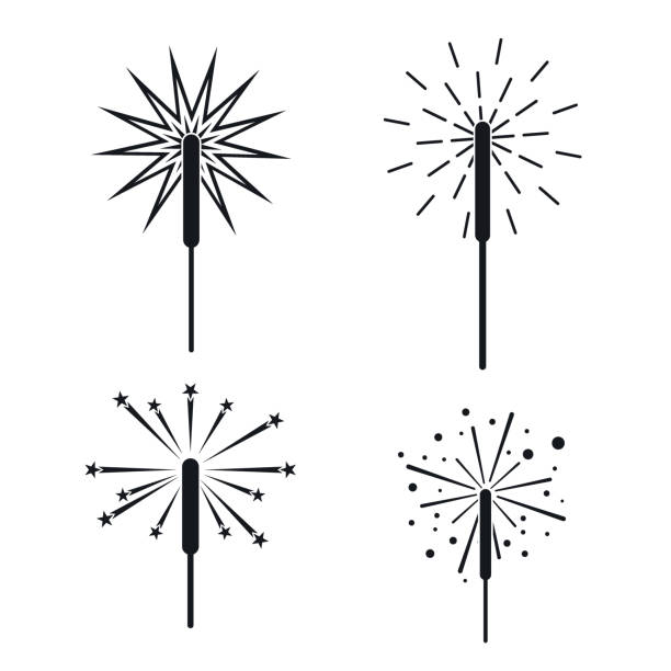 Sparkler fireworks bonfire icons set, simple style Sparkler fireworks bonfire icons set. Simple illustration of 4 sparkler fireworks bonfire vector icons for web sparkler stock illustrations