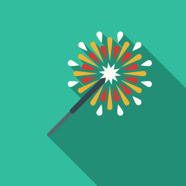 Sparkler Flat Design Party Icon with Side Shadow A flat design styled business icon with a long side shadow. Color swatches are global so it's easy to edit and change the colors. sparkler stock illustrations