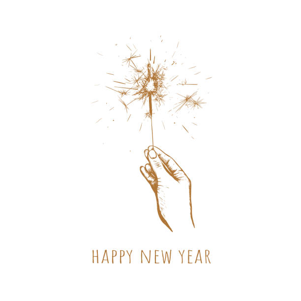 Sparkler in hand. Happy new year Sparkler in hand.Happy new year vector illustration. Sparkler sketch hand drawing sparkler stock illustrations