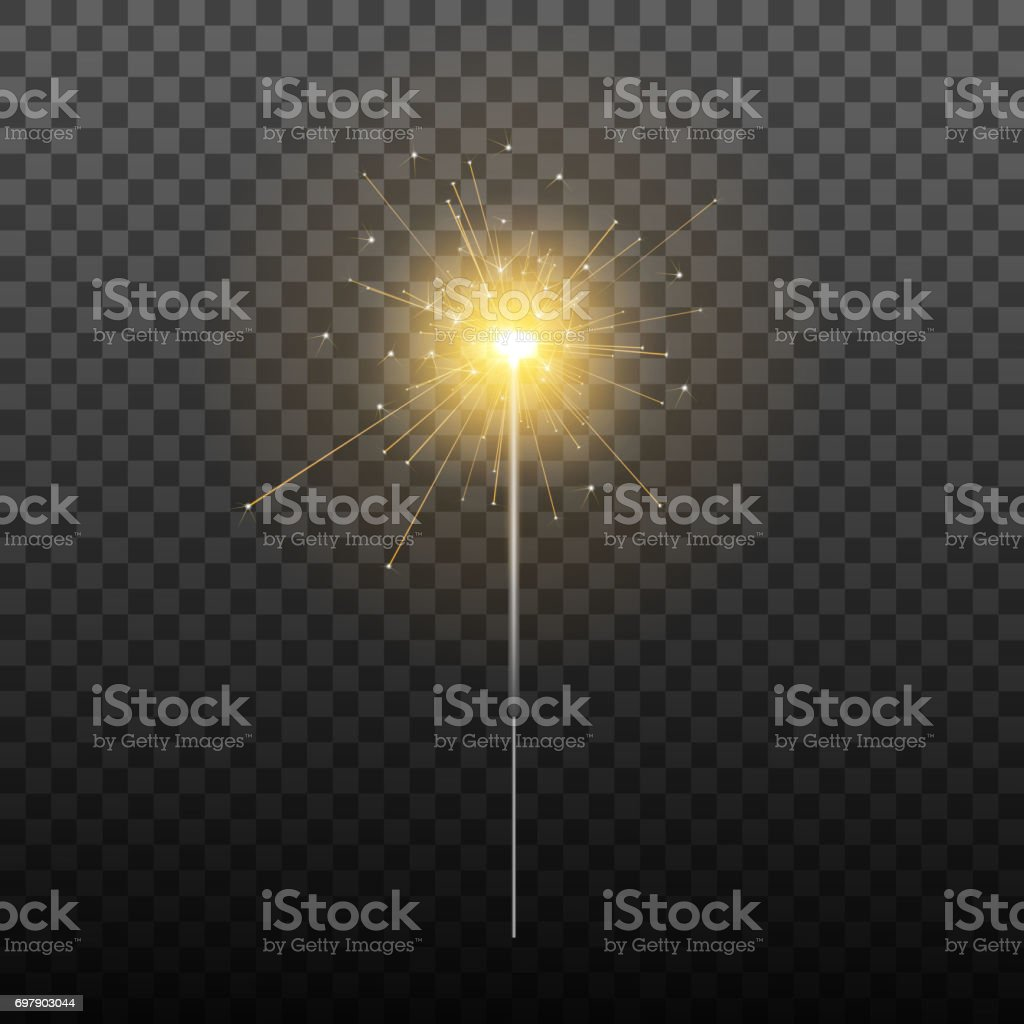 Sparkler. Realistic sparkler isolated on transparent background. Holiday decoration for Christmas, birthday etc. vector art illustration