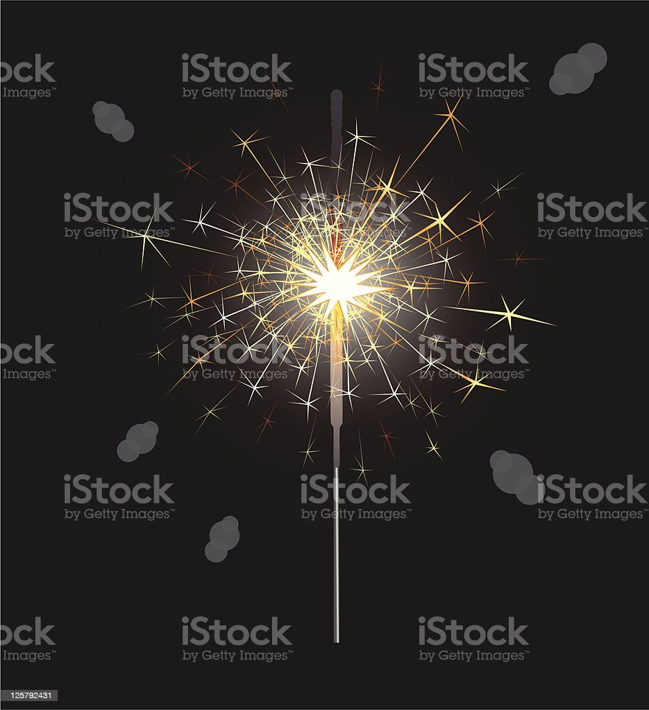 Sparklers fire vector art illustration