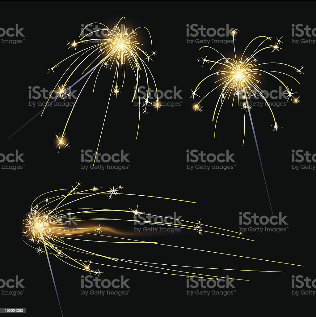 sparklers vector art illustration