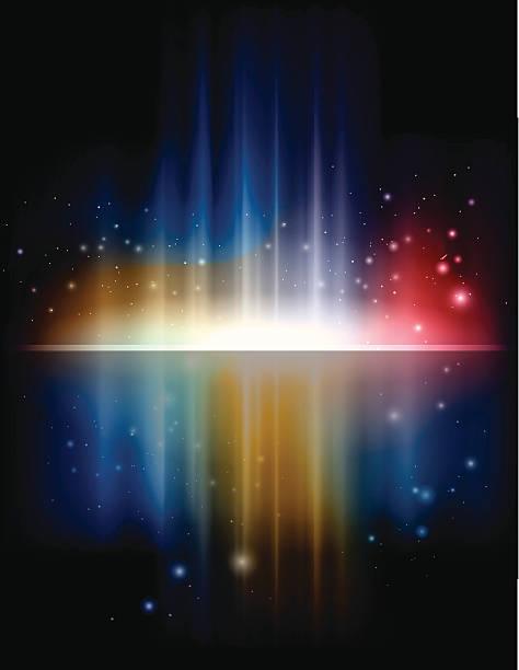 illustrazioni stock, clip art, cartoni animati e icone di tendenza di s'increspa e un colorato arcobaleno aurora - aurora polare