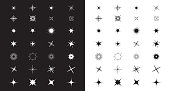 Sparkles Stars sign symbol set. Cute shape collection. Christmas decoration element. Black and white background. Flat design. Vector illustration