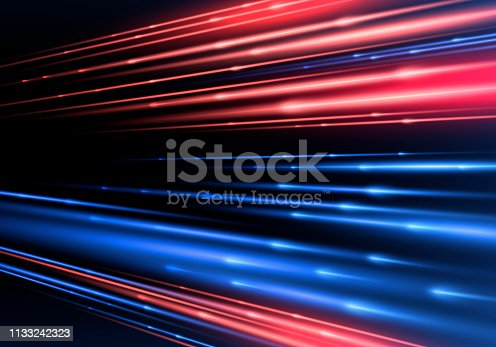 Sparkling blurry trail with imitation of movement and speed. Supersonic dynamic background. Light effect