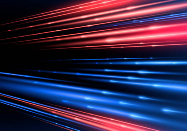 Sparkling blurry trail with imitation of movement and speed. Light effect Sparkling blurry trail with imitation of movement and speed. Supersonic dynamic background. Light effect long exposure stock illustrations