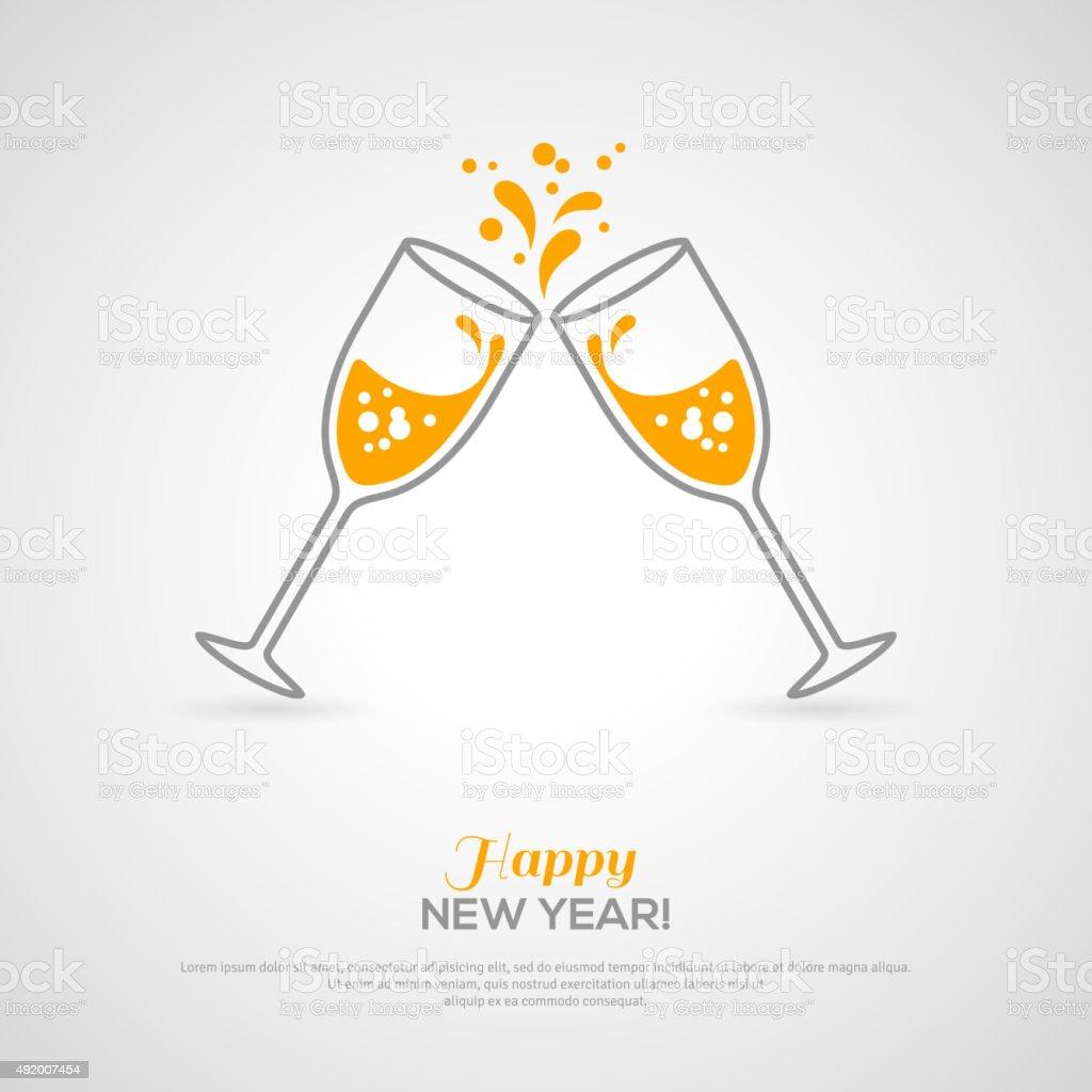 Bicchieri di champagne frizzante. Minimalista concetto - illustrazione arte vettoriale
