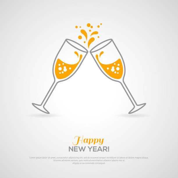 ilustrações, clipart, desenhos animados e ícones de taças de champanhe espumante. conceito minimalista - brinde