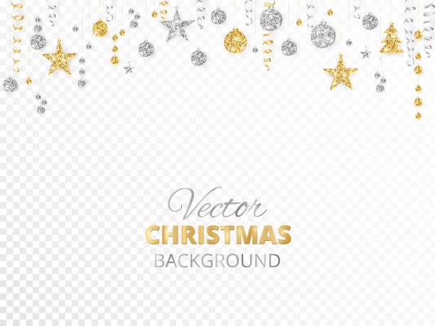bildbanksillustrationer, clip art samt tecknat material och ikoner med gnistrande jul glitter ornament. guld och silver fiesta gränsen. krans med hängande bollar och band isolerad på transparent bakgrund. - christmas decoration golden star