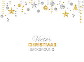 Holiday background with sparkling Christmas glitter ornaments. Gold and silver fiesta border, garland with hanging balls and ribbons isolated on white. Great for New year party posters, headers.