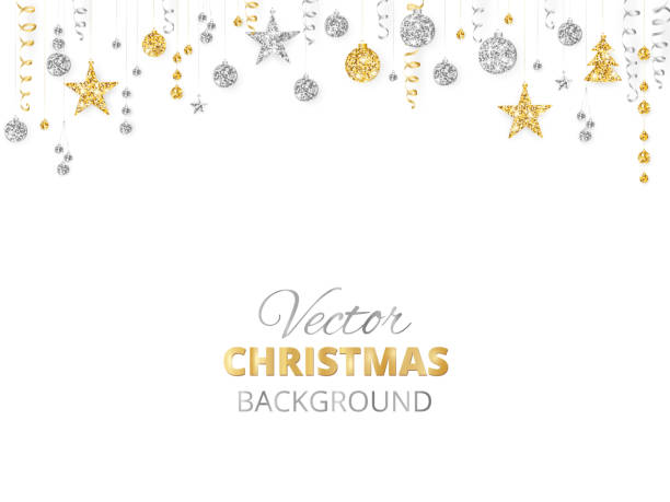 funkelnde weihnachten glitzer ornamente. goldene fiesta grenze, festliche girlande mit hängenden kugeln und bänder isoliert auf weiss. - ferien  und feiertagssymbole stock-grafiken, -clipart, -cartoons und -symbole