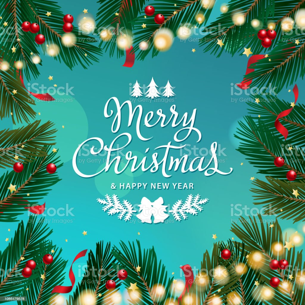 Sparkling Christmas Tree Branch Stock Vector Art More Images Of